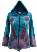 Womens New Sun Flame Hippie Hoodie Pixie Hooded Full Sleeve Sweater Zip Jacket