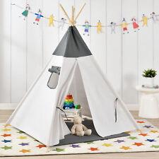 [en.casa] Kinderzelt Grau/Weiß Spielzelt Babyzelt Spielhaus Tipi Indianer Wigwam