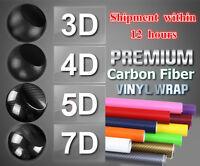 3 4 5 7D Glossy Carbon Fiber Wrap Vinyl Decal Film Sticker Car Air Release Wrap