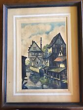 """Jules Leray Framed Original Etching """"Chartres maisous sua l'eure""""  hand tinted"""