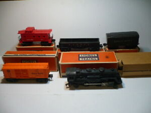 LIONEL POSTWAR ELECTRIC SCOUT STEAM ENGINE #1110 FREIGHT TRAIN SET WITH BOXES