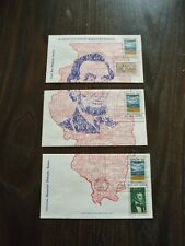 1968 ILLINOIS FIRST DAY COVERS. SET OF 3 COVERS LINCOLN & MAP.