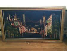 FRENCH PROVINCIAL VELVET WALL/ART PICTURE(CHINA TOWN/SAN FRANCISCO) - LIGHTS UP