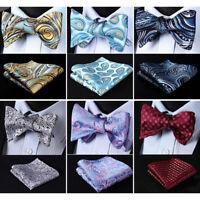 HISDERN Paisley Men Woven Silk Wedding Self Bow Tie handkerchief Set#RF5