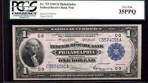1918 $1 Philadelphia Federal Reserve Bank Fr. 715 VF 35PPQ PCGS #C3574091A