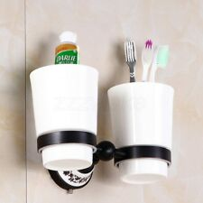 Oil Rubbed Bronze Wall Mounted Toothbrush Holder with Two Ceramic Cups ZD755