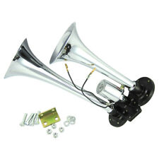 Chrome Loud Double Trumpet Truck Lorry Boat Air Horn 24V 12V 150DB With Solenoid