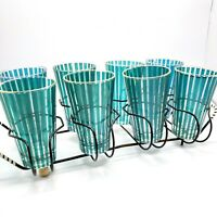 Set of 8 Teal Stripe and Gold Rim Drinking Glasses MCM Vintage with Metal Caddy