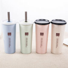 450ML Double Leak-proof Lid Wheat Straw Cup Cold Drink Coffee Juice Travel Mug