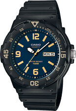 Casio MRW-200H-2B3 Analog Watch Blue and Gold 100m WR Day Date Display New