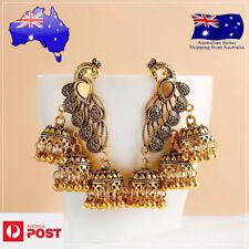 Indian Ethinic Oxidized Gypsy Jewelry Women  Long Chain Tassel Peacock Jhumka