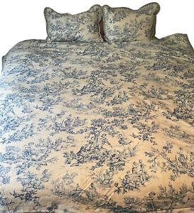 Jane Wilner Haute Couture Linens Blue Toile DUVET COVER BED SKIRT EURO SHAMS EUC