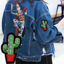 3pcs Cactus Embroidery Fabric Applique Iron/Sew on Patches For Clothing F0