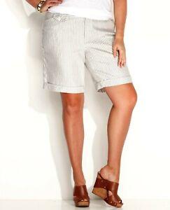 INC Bermuda Shorts Womens Plus 14W White Striped Cuffed Linen Blend NWT $59