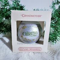 Grandmother Glass Christmas Ornament 1984 Blue Vintage 80s Hallmark