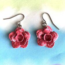 Pink Rose Flower Hook Dangle Earrings