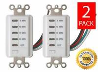 (2) Teklectric Bathroom Fan Auto Shut Off Switch Timer, 30-15-10-5 Minute