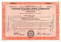 United States Lines Company Stock Certificate 100 Shares