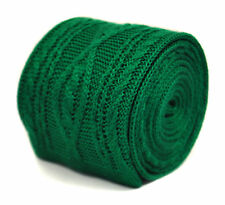 Frederick Thomas green skinny cable knitted wool tie FT2215 RRP£20