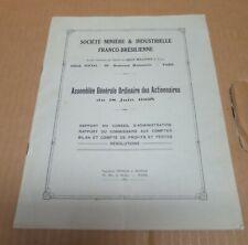 FRANCE BRESIL Société minière et industrielle Franco -brésilienne assemblée 1935