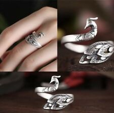 Thai Silver 3d Peacock Ring Adjustable