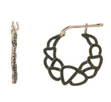 Pave 5A Black Spinel CZ Open Lace Rose Sterling Silver Hoop Earrings-Vermeil