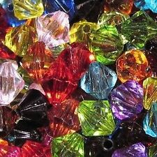 25g - 8mm Mixed Acrylic Faceted Bicone Beads - A5216