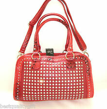 NEW-DS RED CROC LEATHERETTE+CRYSTAL STUD+SILVER SATCHEL,PURSE,BAG+CROSSBODY