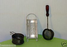3 Antique 1915-30 Old Toy Child's Doll Kitchenware Strainer Grater AD921131237-9