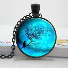 Collana con ciondolo a forma di GATTO LUNA/catena gioielli vetro regalo idea ALBERO GATTINO Blu