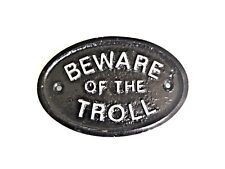 SILVER BEWARE OF THE TROLL CAVE DWELLER DOOR PLAQUE /WALL OR GARDEN SIGN NEW