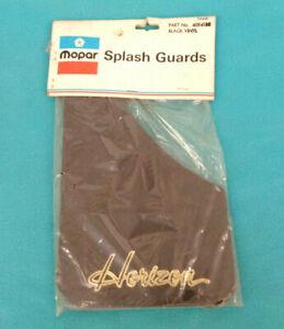 NOS MOPAR 1977- 90 PLYMOUTH HORIZON SPLASH GUARDS, BLACK W- GOLD LOGO, 1-PR NICE