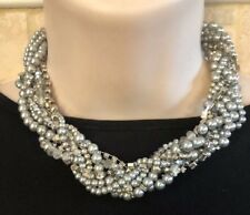 "ISABELLA MIA GORGEOUS BRAIDED Silver PEARL CRYSTAL 16""Necklace-NWT!"