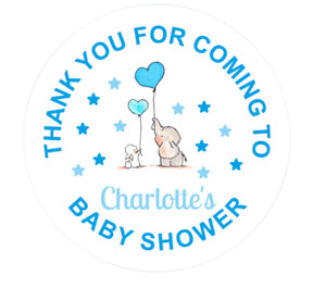 Blue Elephant Baby Shower Themed Thank You Stickers For Sweet Cones & Party Bags