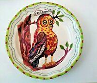 "Whimsical NATHALIE LETE FOR ANTHROPOLOGIE 8"" Owl Dessert Plate - C'est Chouette"