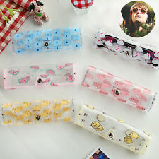 Clear Transparent Cartoon Glasses Protector Case Metal Button Sunglasses Box New