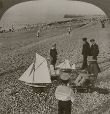 Keystone Stereoview Boys Buying Toy Boats at Beach Rare Children Set 1930's # 6