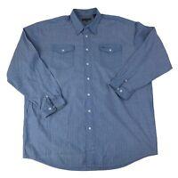 Roper Mens Size 3XLT Tall Blue Long Sleeve Western Cowboy Shirt 2 Pocket