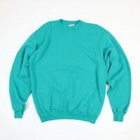 Vtg 80s 90s HANES Blank Sweatshirt LARGE Teal Green Surf Skate Grunge USA Made