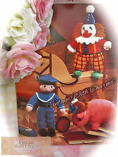 Vintage Toy Knitting Pattern For A Smiley Sailor, Clown & Pig In A Hat