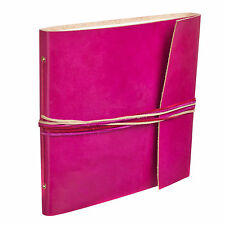 Fair Trade Handmade 3 String Cerise Leather Photo Album Scrapbook