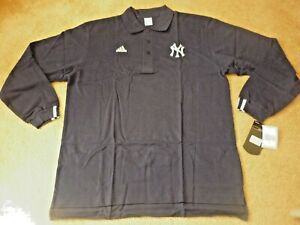 NEW YORK YANKEES Team Issued New Unworn LONG SLEEVE Polo Shirt - ADIDAS - Sz L