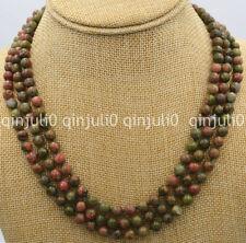 Beautiful 3 rows 8mm beads unakite Ireland Gemstone Necklace 17-19'' JN1292