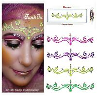 Neon self adhesive BINDI-FACE GEM-FESTIVAL FACE JEWEL Body Tattoo Rave Makeup UK