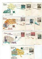 10 Sobres primer dia España 1964 Paisajes y Monumentos 1541/50  First day Spain
