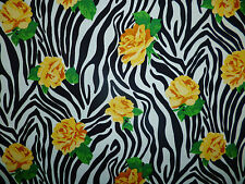 CLEARANCE YARD BLACK WHITE ZEBRA STRIPE BRIGHT YELLOW ROSES FLOWERS FABRIC AN