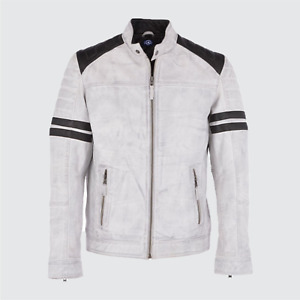 Sheep Skin Leather Slim Fit Biker Style Men's Jacket White with Black Strips