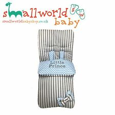 Personalised Boys Grey Strip Blue ZigZag Footmuff Cosytoes (NEXT DAY DISPATCH)