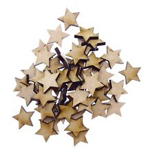 50 x Wooden Laser Cut MDF shapes Craft Blank Embellishments - Stars 20mm