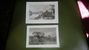 2 Original  Antique Engravings, View of Pangbourne with  House Trees Lake,
